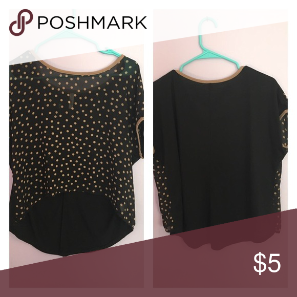 High - Low shirt Size M from target. Black shirt with brown polka dots Xhilaration Tops Blouses