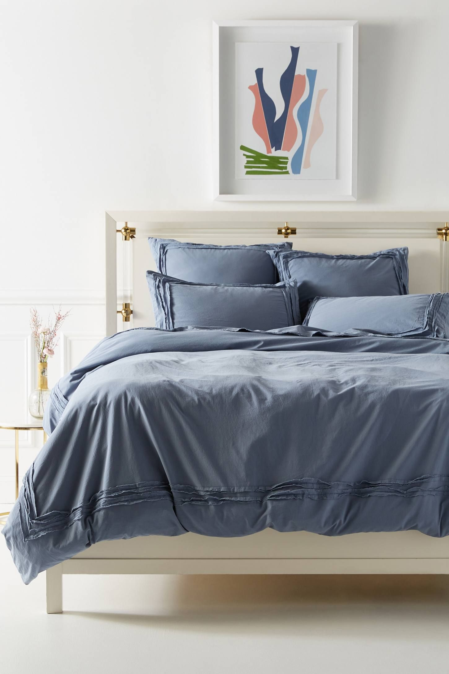 Joey Washed Percale Duvet Cover by Anthropologie in Grey