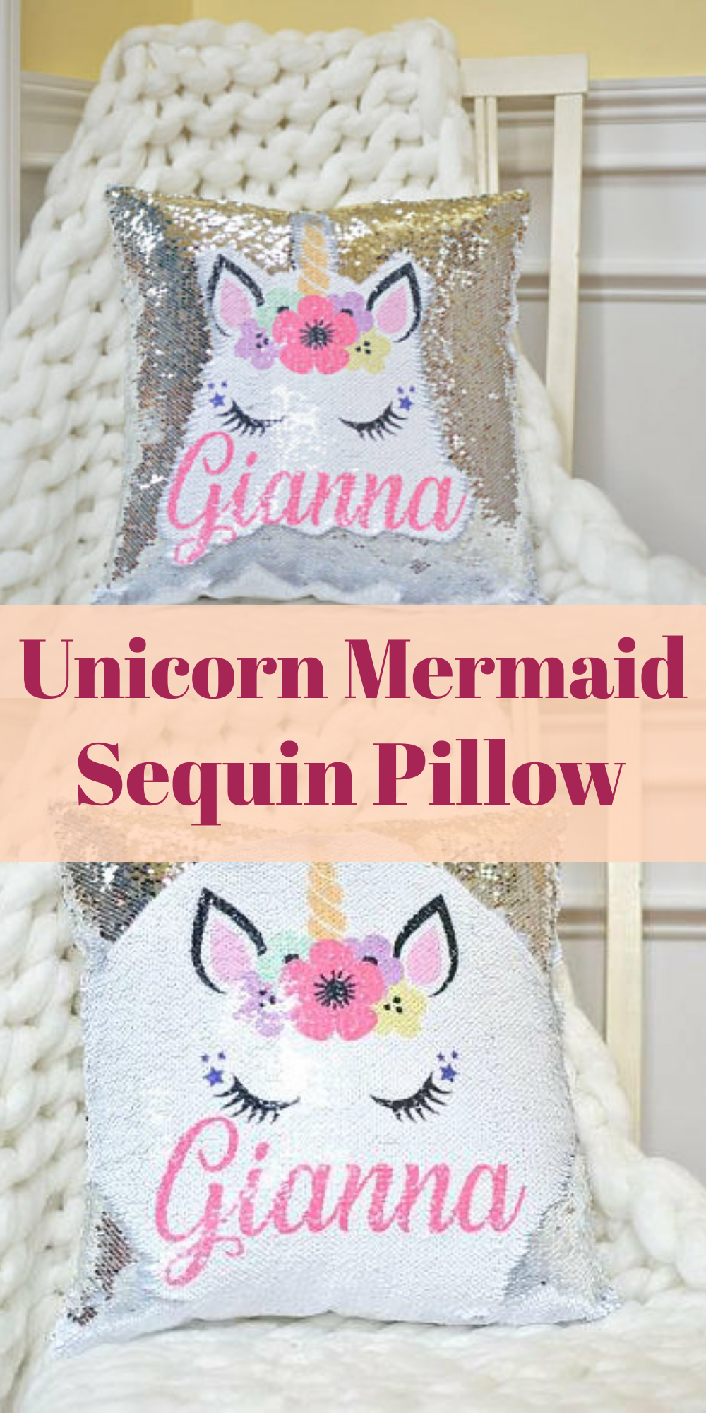 Unicorn mermaid sequin pillow daughter would love this etsy