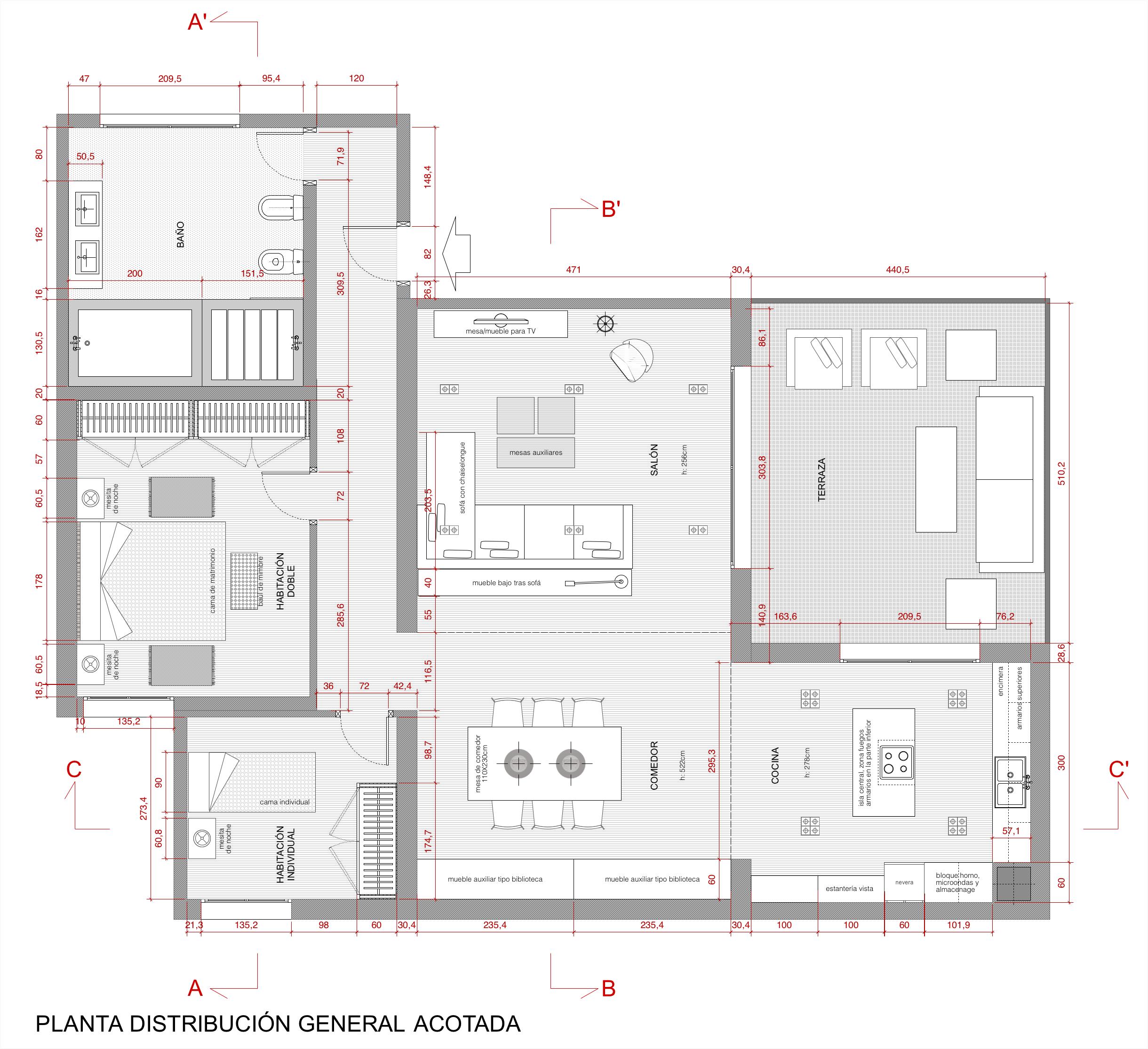 Plano de planta de distribuci n acotado de una vivienda for Cocina plano arquitectonico