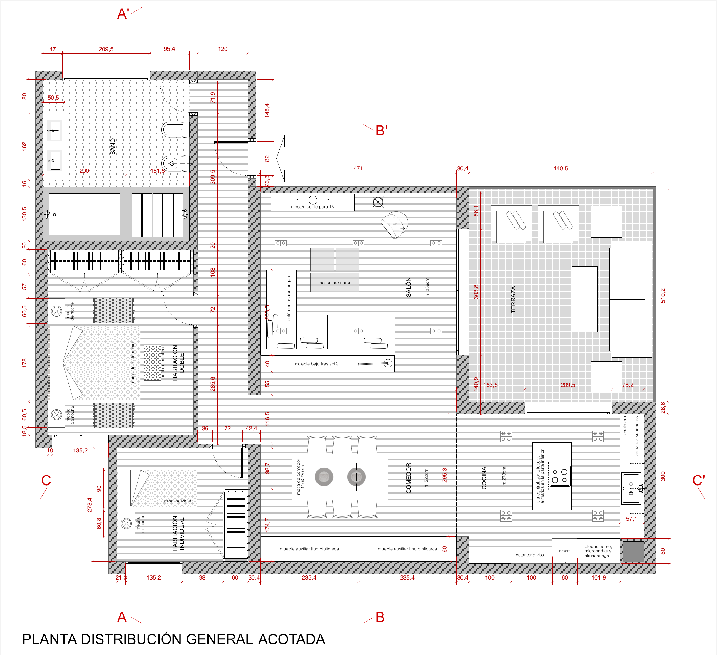 Plano de planta de distribuci n acotado de una vivienda - Programa para planos de viviendas ...