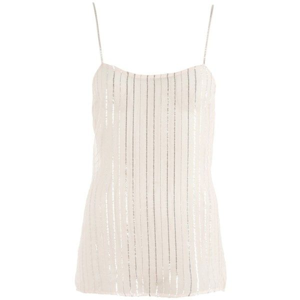 e2d640146d863 STELLA MCCARTNEY Camisole top with silver stripes ( 69) ❤ liked on Polyvore  featuring tops