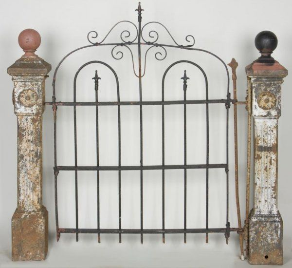 260: Pair Of Antique Garden Gate Posts With Gate : Lot 260