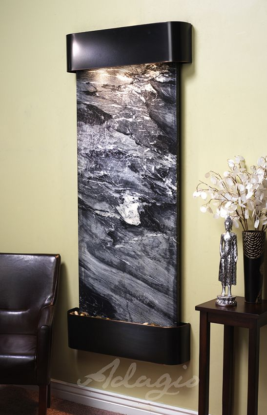 Adagio Inspiration Falls Fountain W/ Black Spider Marble In Blackened