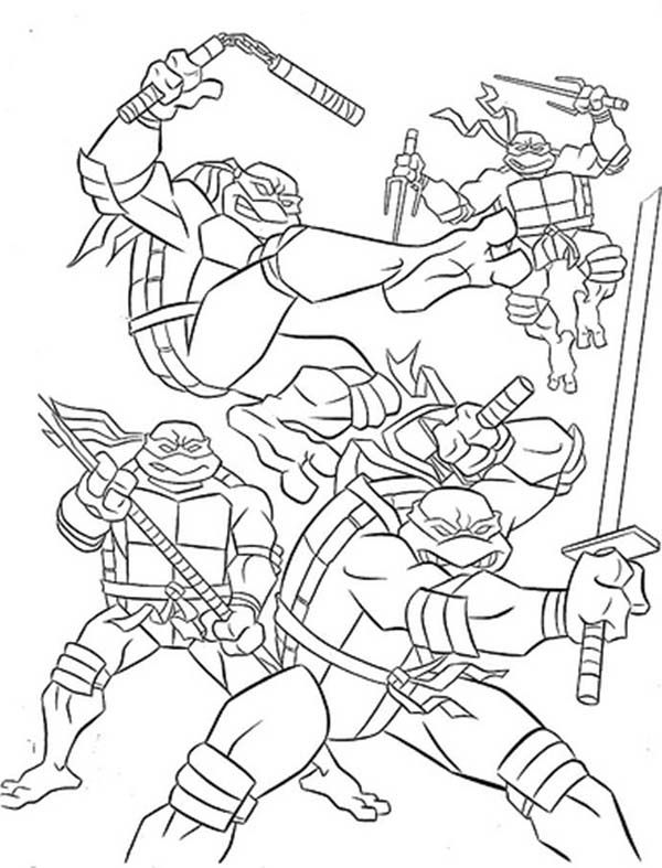 Teenage Mutant Ninja Turtles and Their Weapon of Choice Coloring