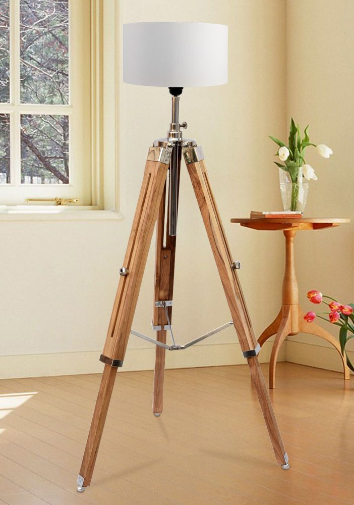 Details About Nautical Wooden Floor Lamp Led Tripod Lamp