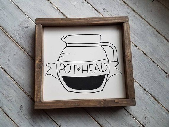 Wooden Sign Coffee Sign Pot Head Sign Coffee Bar Sign ...