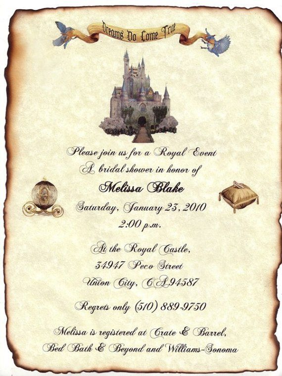Invitations Scroll Fairytale Princess Castle Theme (idea For Publicity For  KK)