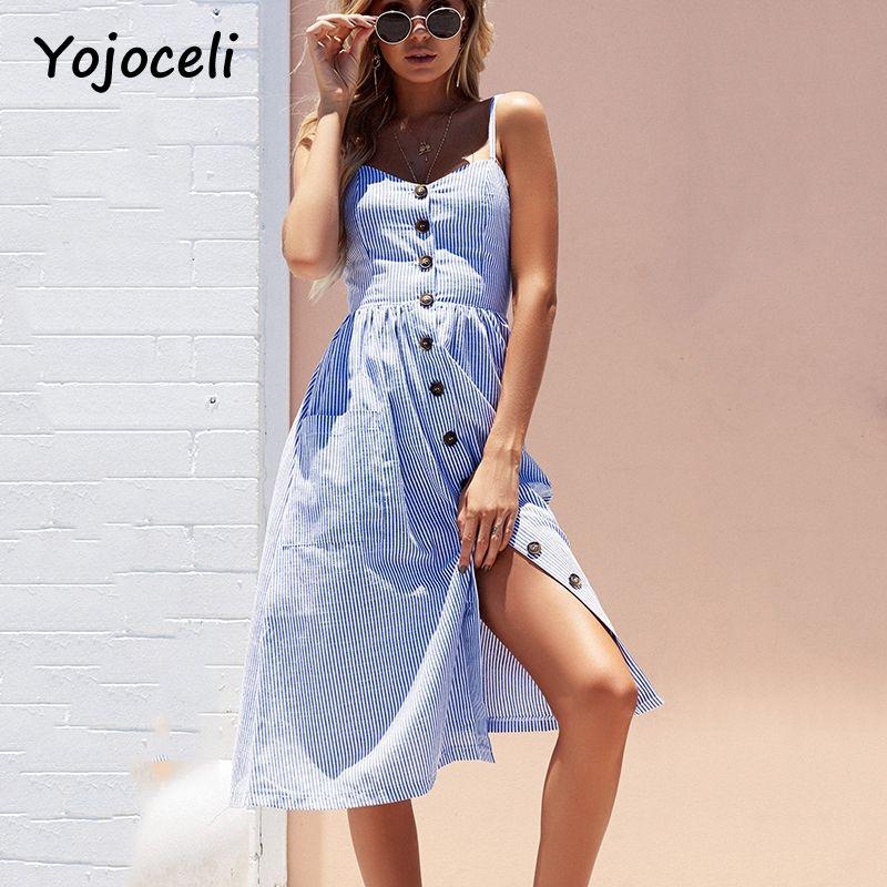 9c4607c3b0c Yojoceli Striped button sexy casual summer strap dress Long boho beach  pockets women sundress vestidos Elegant