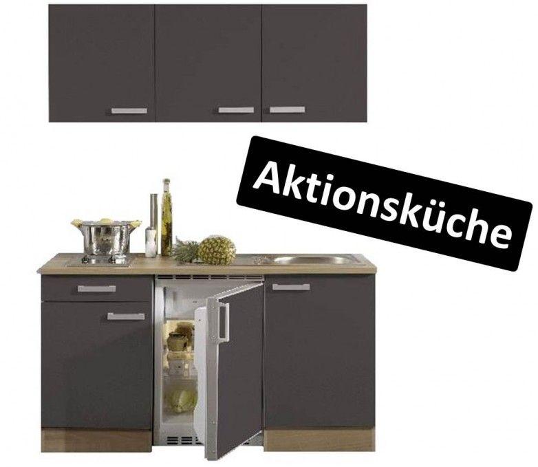 Miniküche 150 cm Front grau, Korpus Nussbaum | Hausbau | Küchen ...