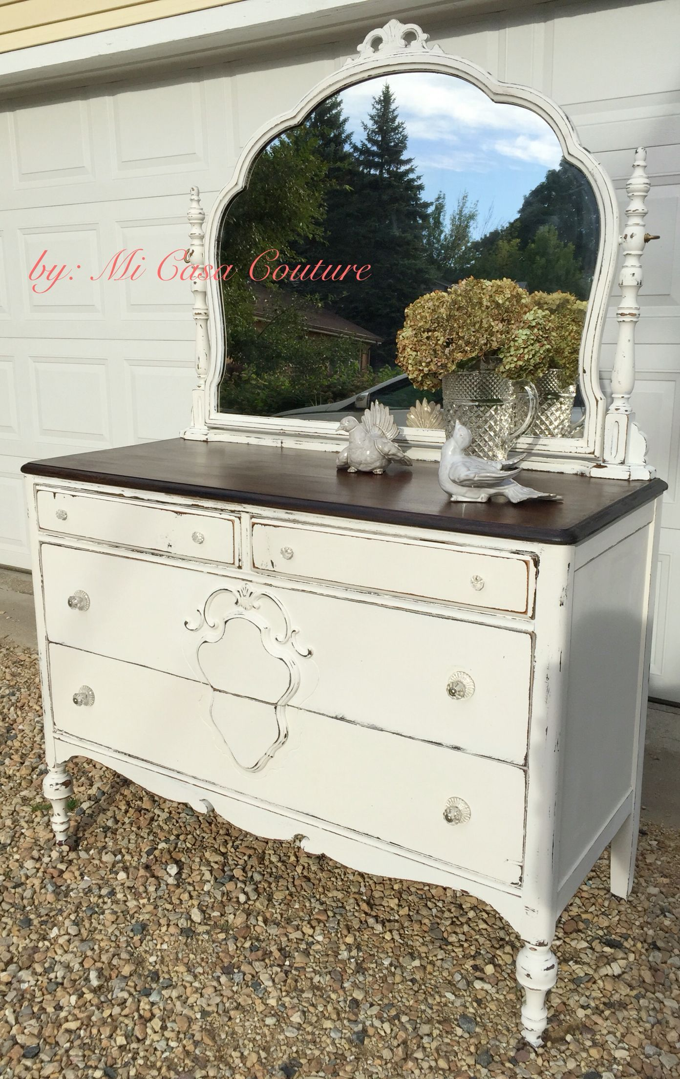 Stunning Shabby Chic Dresserentryway Piece With Mirror Painted With A Creamy