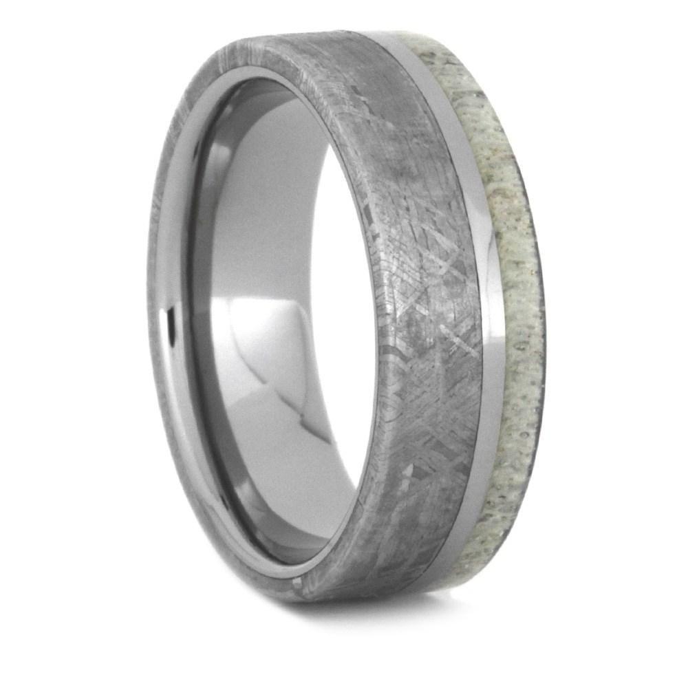 Men S Antler And Meteorite Ring With Titanium Pinstripe 3502 In 2020 Meteorite Wedding Band