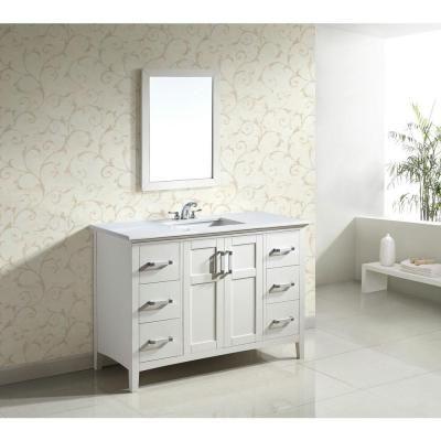Simpli Home Winston 48 In Bath Vanity In Soft White With Quartz