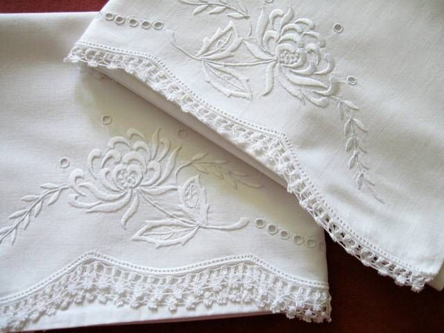Vintage Antique Pillowcases Whitework Broderie Anglaise