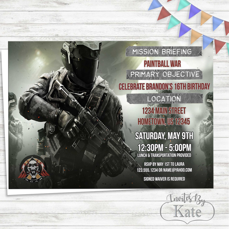 Duty Infinite Warfare Party Invitation