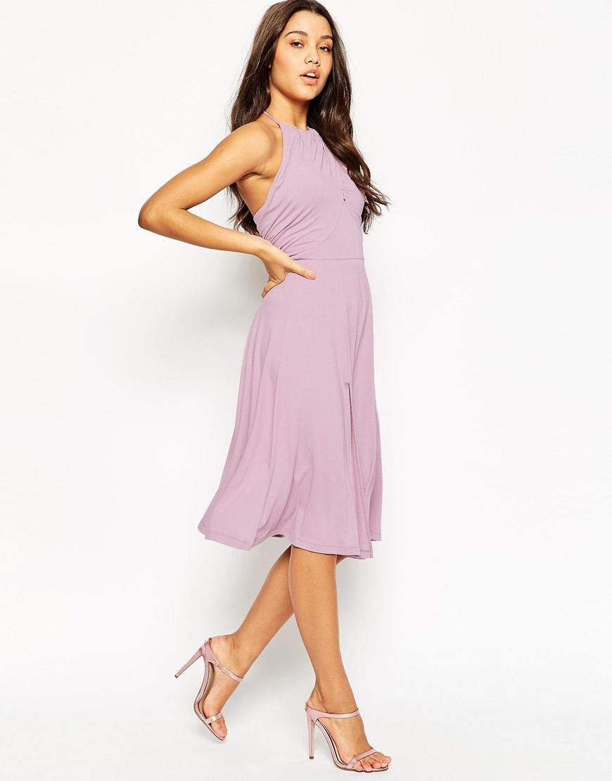 Image 4 of ASOS High Neck Drape Front Midi Skater Dress ...