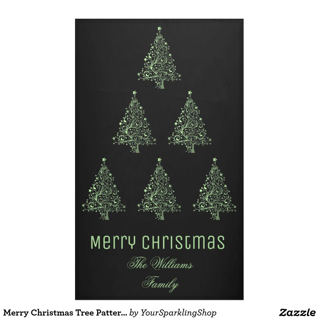 Merry Christmas Tree Pattern Metallic Green Black  Party Indoor Outdoor Banner
