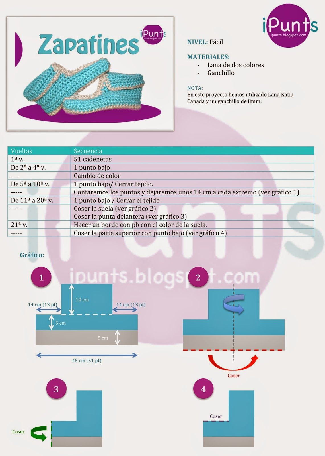 patrón gratis zapatillas crochet ganchillo ipunts | DiY! | Pinterest ...