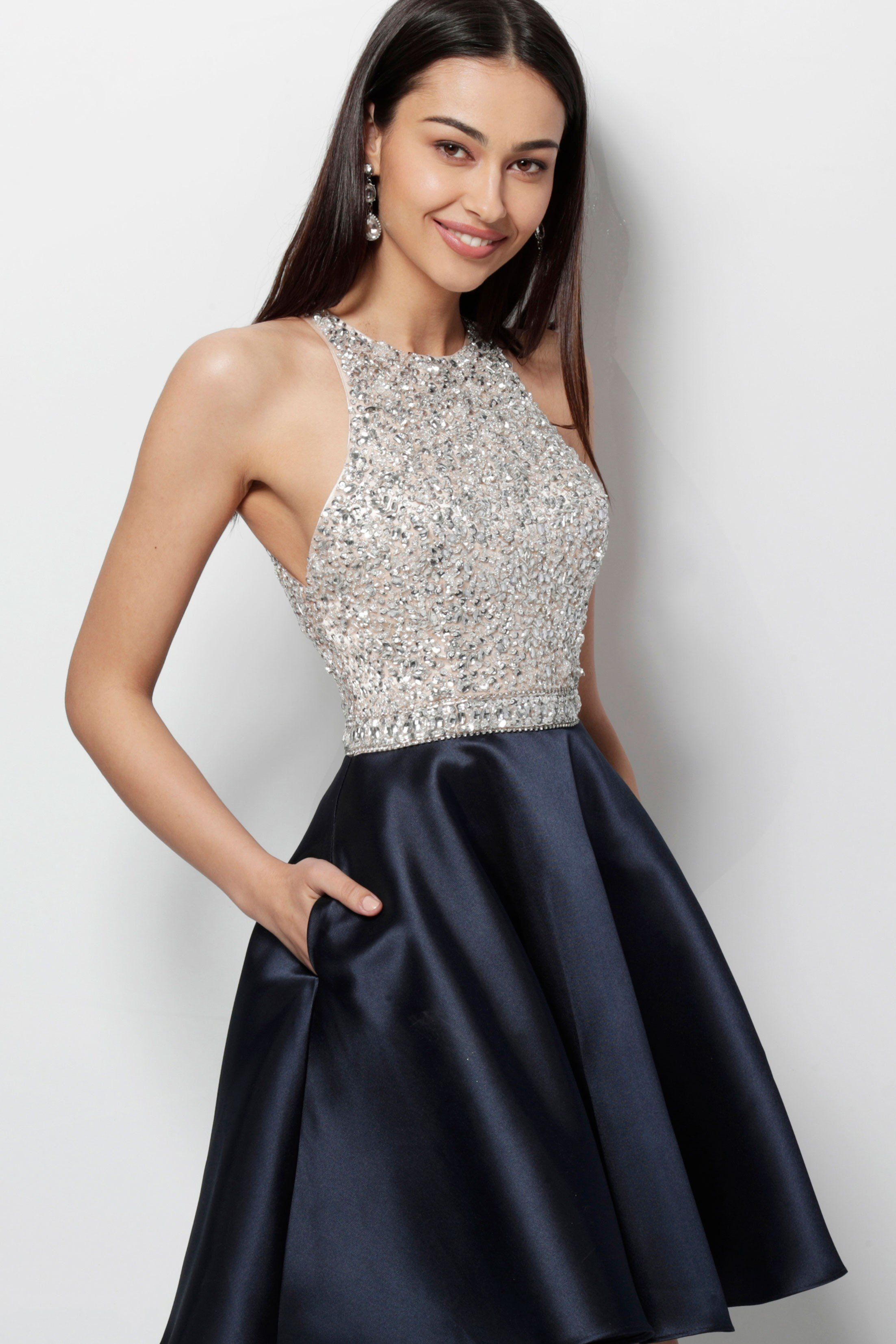 57f7daa6fd5 JVN by Jovani JVN57782 Two-Tone Mini Dress with Embellishment in ...