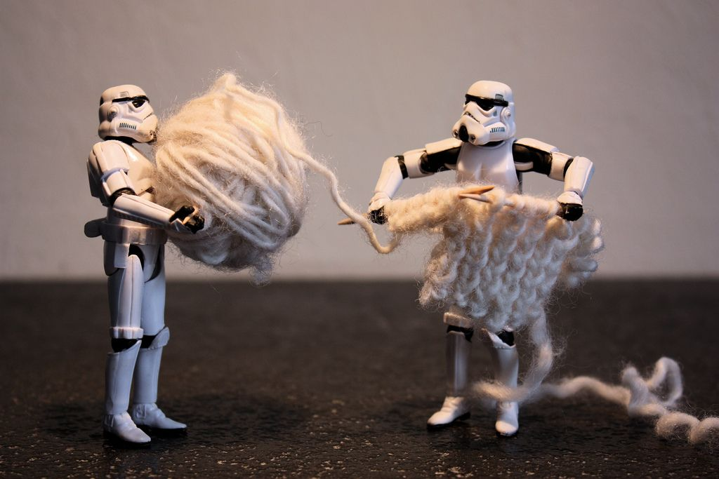 knitting Storm Troopers - love this idea - could do something like the Elf on the Shelf with these leading up to our big program