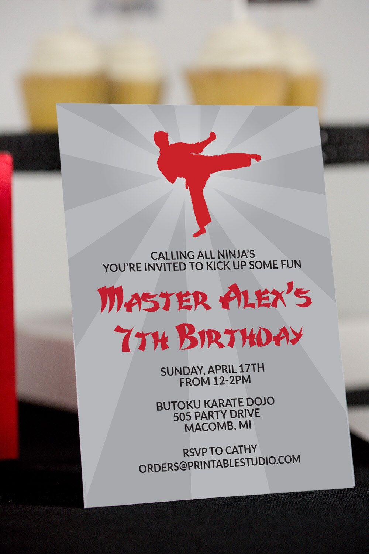 Karate Party Invitation INSTANT DOWNLOAD - Printable Ninja ...