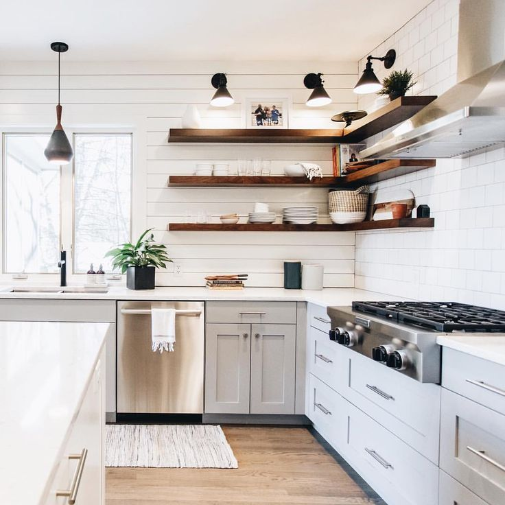 Medium Wood Kitchens: Medium Tone Open Shelving With Light Wood Floors In White