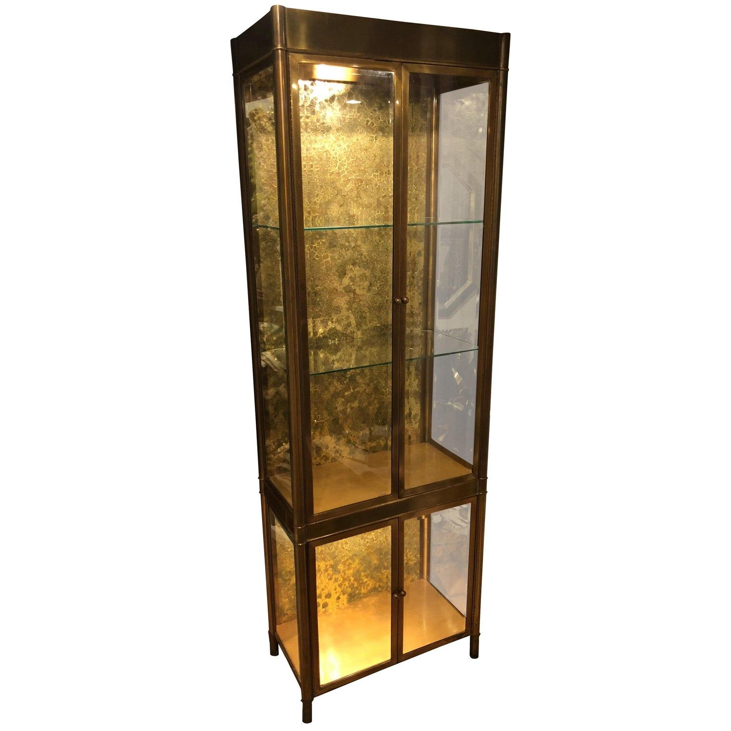 Aluminum Brass And Glass Etagere Vitrine By Vesey Bookcase