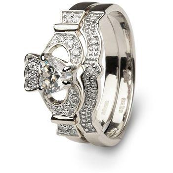 1 3 Or 1 2 Carat Diamond Claddagh Engagement Wedding Ring Set Sl 14l68wdd Set Claddagh Ring Wedding Engagement Wedding Ring Sets Claddagh Engagement Ring