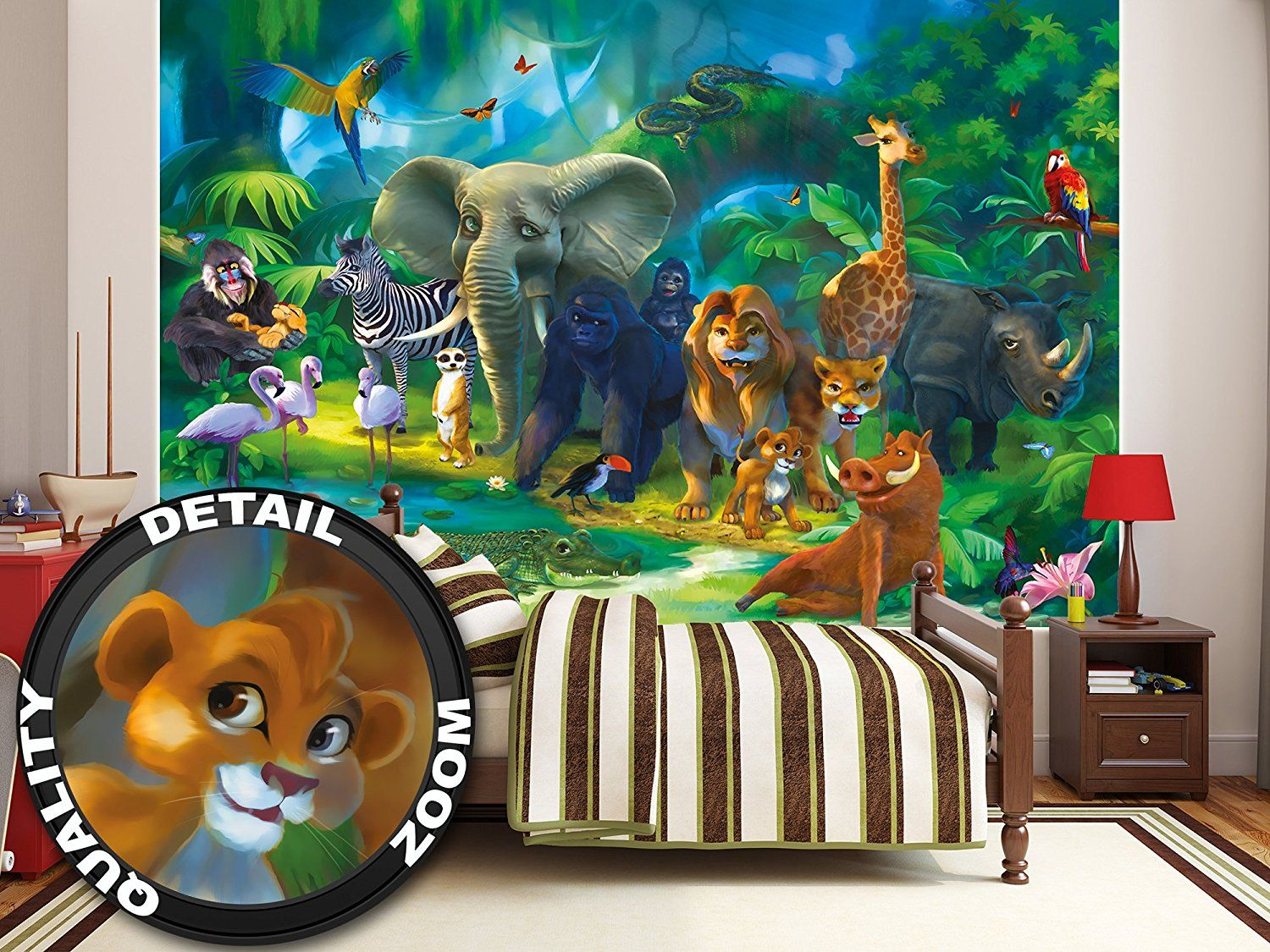 FRESQUE MURALE ANIMAUX Sauvages Dans Nature | Stickers Chambre Bebe Garcon  Jungle