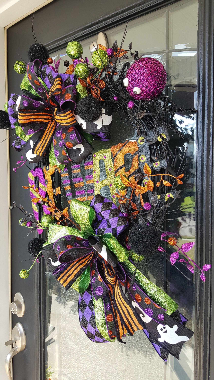 Beware wreath Halloween Wreath Purple wreath Front Door Wreath