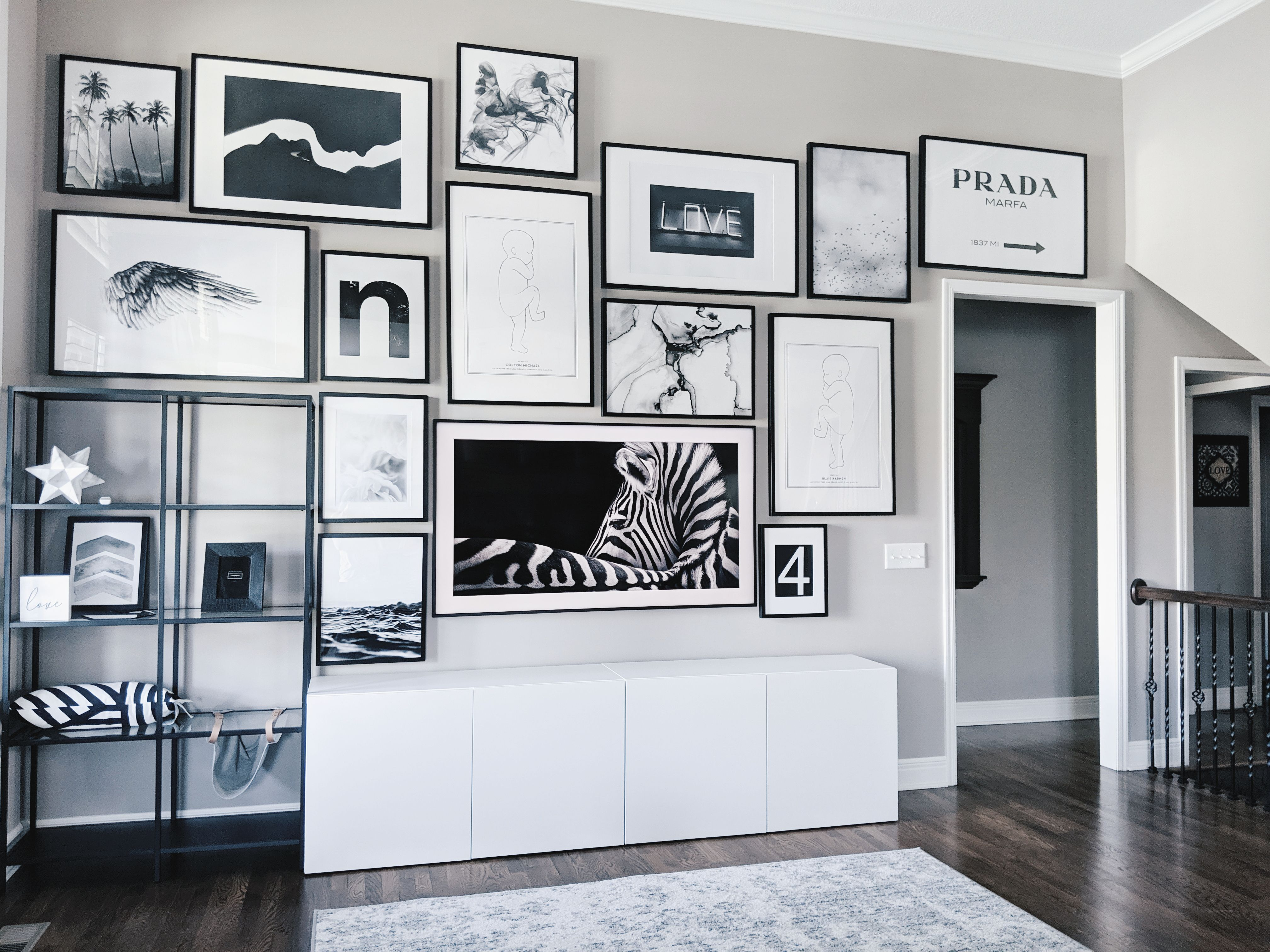 Living Room Gallery Wall Ideas Looking For Gallery Wall Ideas This Black And White Gallery Wall Is A Tota Gallery Wall Living Room Living Room Wall Framed Tv