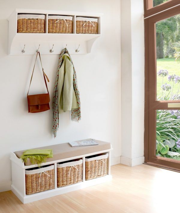 Furniture Trendy Tetbury Hallway Storage Bench And Shelf Including Cream  Seat Cushions Over Rattan Wicker Baskets