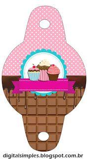 kit de personalizados tema festa cupcake para imprimir convites