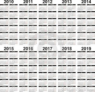 A Set Of Vector Calendars From The Year 2010 To 2015 5 Year Calendar Calendar Printables Printable Calendar Design
