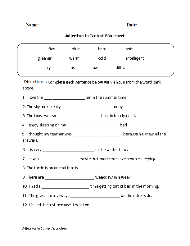 Adjectives Worksheets Adjective Worksheet Adjectives Describing Words