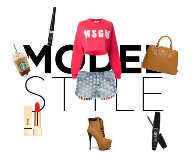 Fabulous morning by dariann on Polyvore featuring moda, MSGM, Tinsel, Breckelle's, Prada, PUR and Rimmel