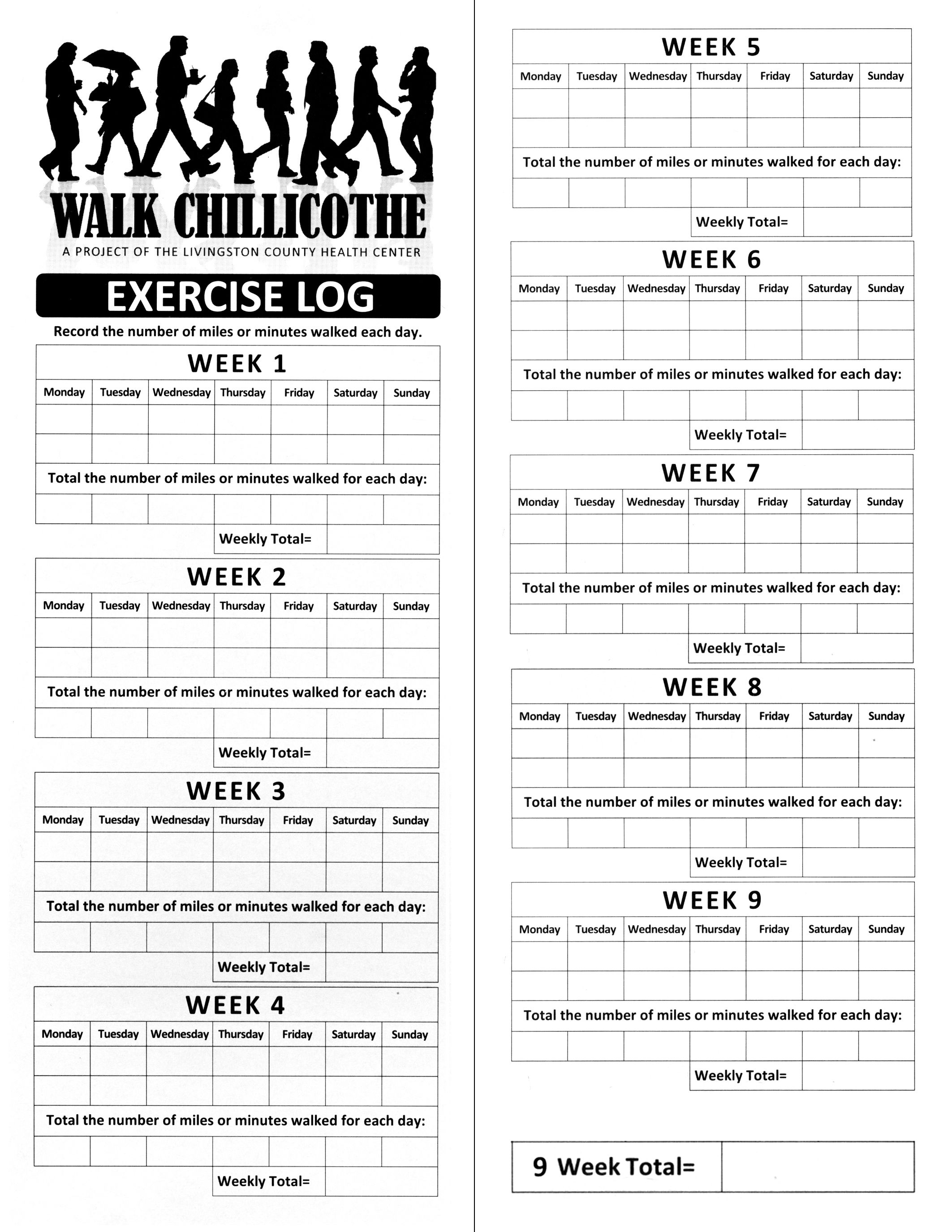 Printable Walking Log