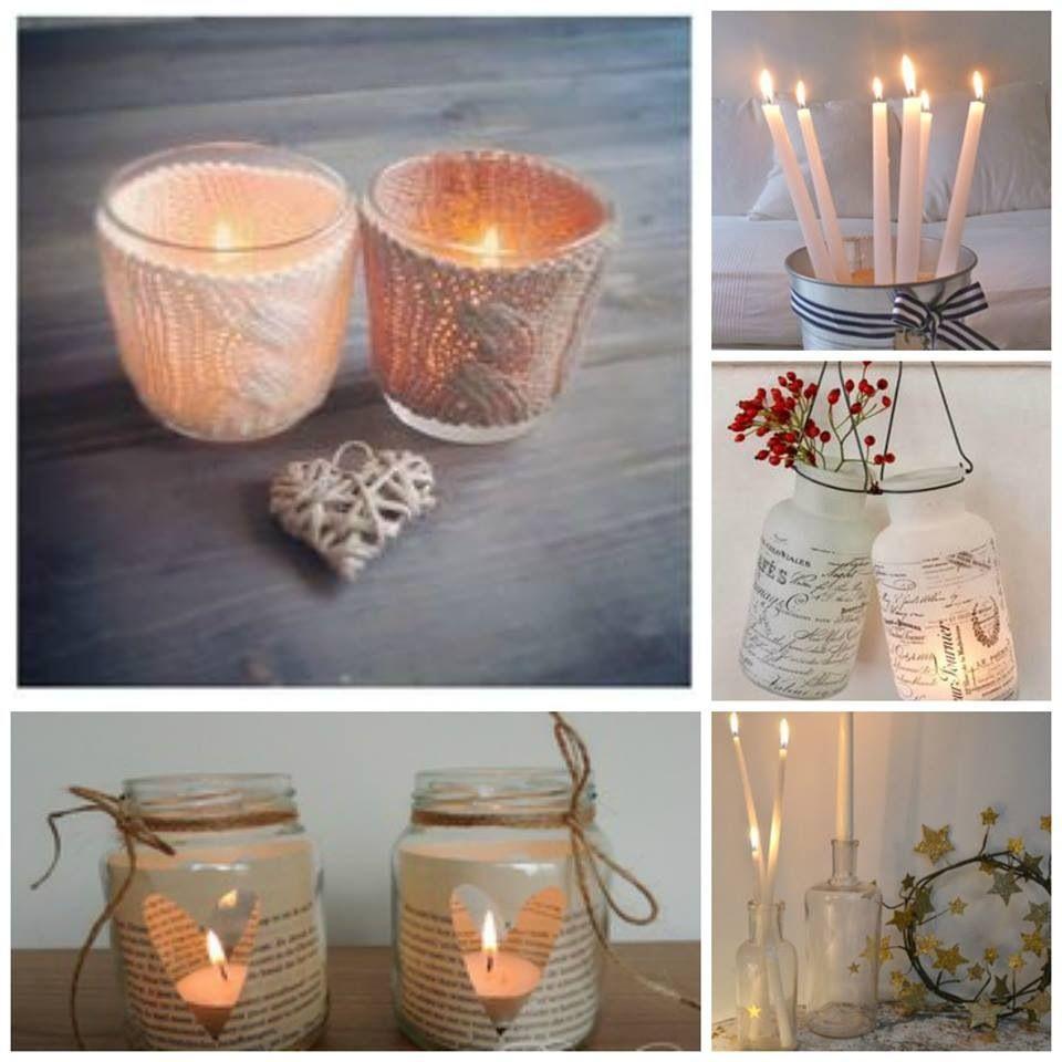 Hermosas velas artesanales decoradas con hilos telas - Porta velas navidenas ...