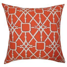 """Cotton pillow with a trellis-inspired motif and feather-down fill. Made in Boston, Massachusetts.   Product: PillowConstruction Material: Cotton cover and 95/5 down fillColor: TangerineFeatures:  Insert includedHidden zipper closureMade in the USA Dimensions: 18"""" x 18""""Cleaning and Care: Spot clean"""