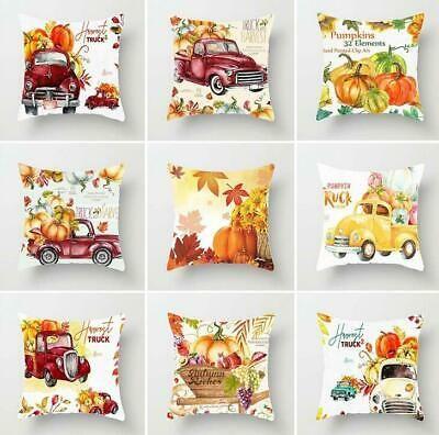Merry Christmas Halloween Pumpkin Truck Print Pillow Case Cushion Cover Decor (ebay link)