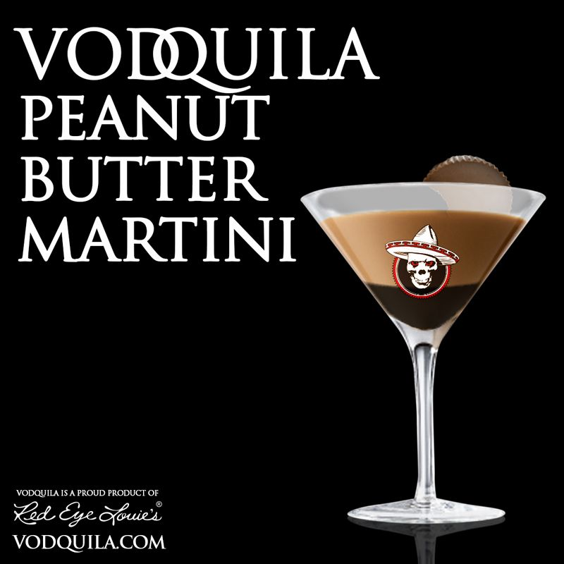 So yum!  Ingredients: 1 1/2 oz. Vodquila 1 oz. Castries Creme Peanut Rum 3/4 oz. Chocolate Liqueur 1/2 oz. Cream Chocolate syrup