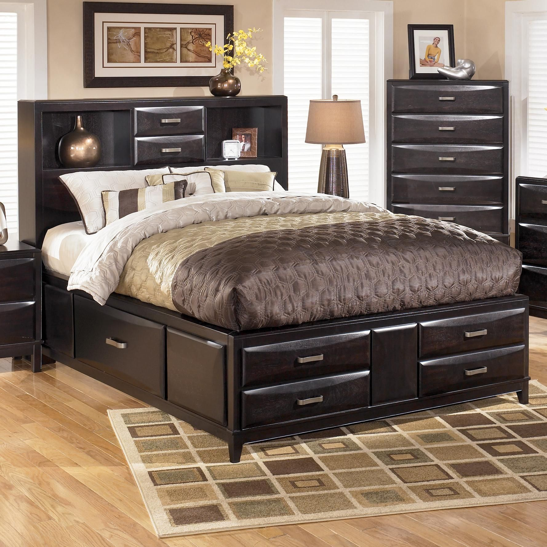 Kira Queen Storage Bed By Ashley Furniture   L Fish   Captainu0027s Bed  Indianapolis, Greenwood