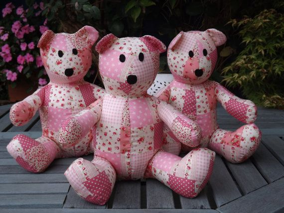Pink Patchwork Teddy Bear Handmade by ClaresQuiltsnSoftToy on Etsy ...