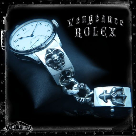 Custom Rolex Watch - Diamond Skull Fleur De Lis Bracelet in Sterling Silver | SCREAMING for VENGEANCE #rolexwatches