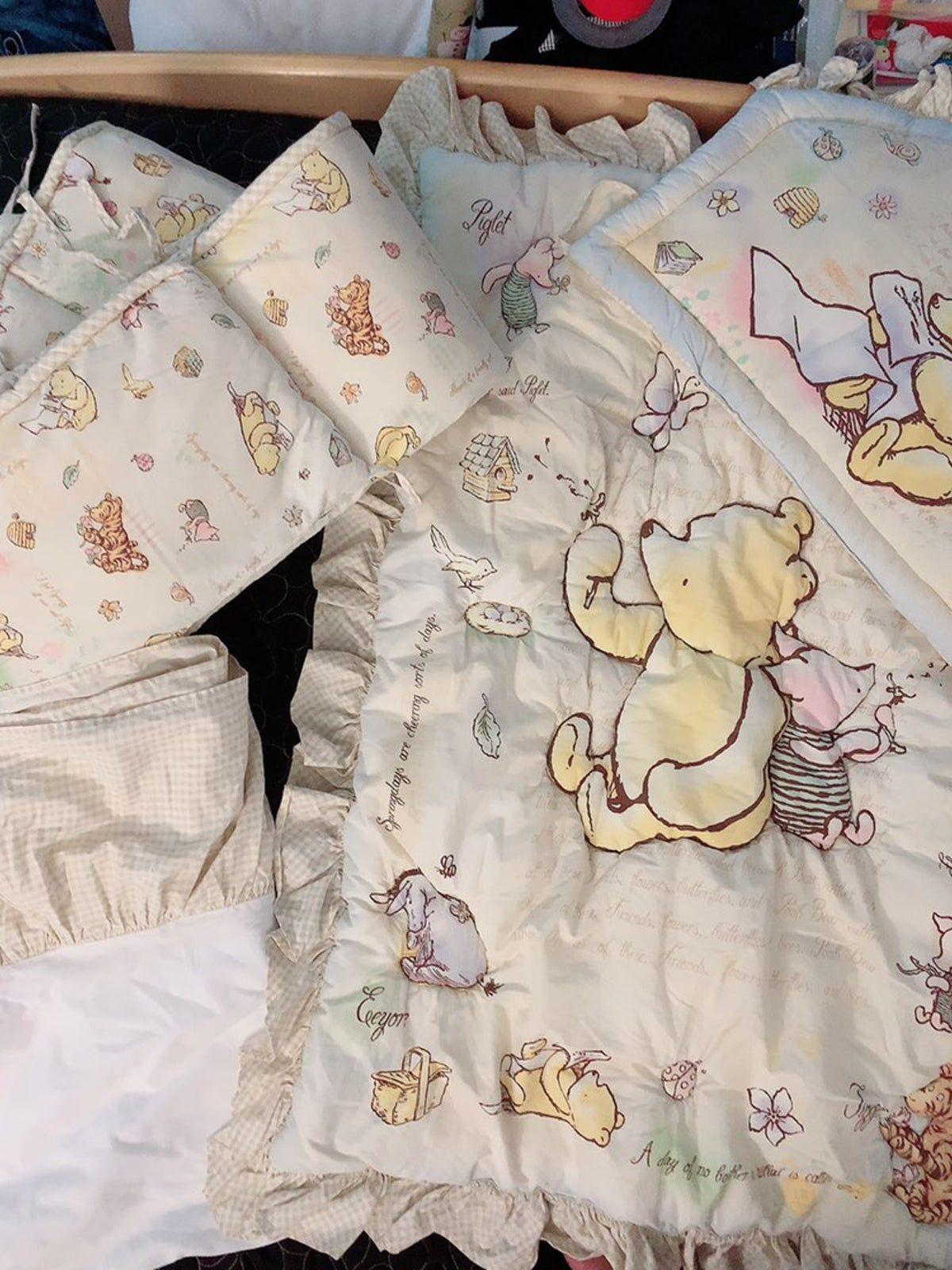 Winnie The Pooh 4 Pc Crib Bedding Set Baby Boy Room Nursery Disney Baby Nurseries Winnie The Pooh Nursery
