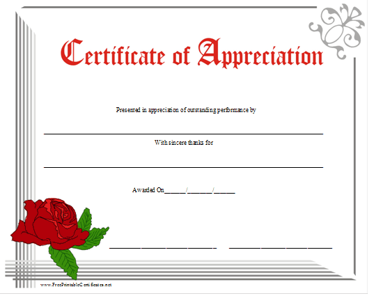 An Attractive Floral Certificate Of Appreciation With Red Lettering