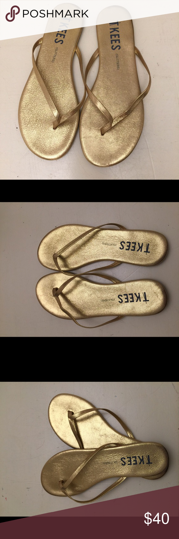 Tkees - Gold Sandal Never worn! Perfect summer sandal. Tkees Shoes Sandals