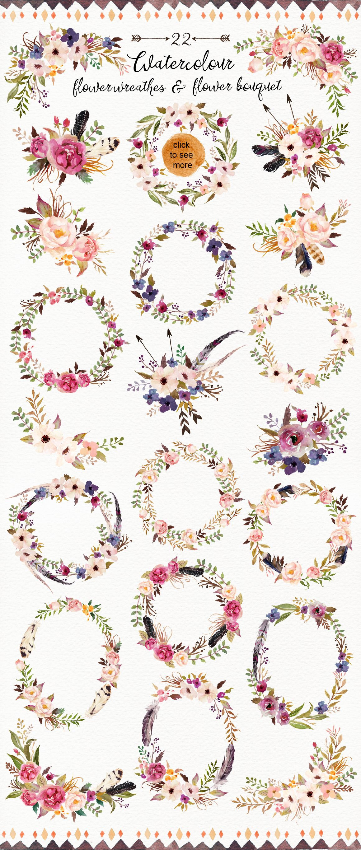 Watercolor flowers png clipart illustrations on creative market - Watercolour Tribe Flower Diy Bonus By Graphic Box On Creative Market Die Als Stickers