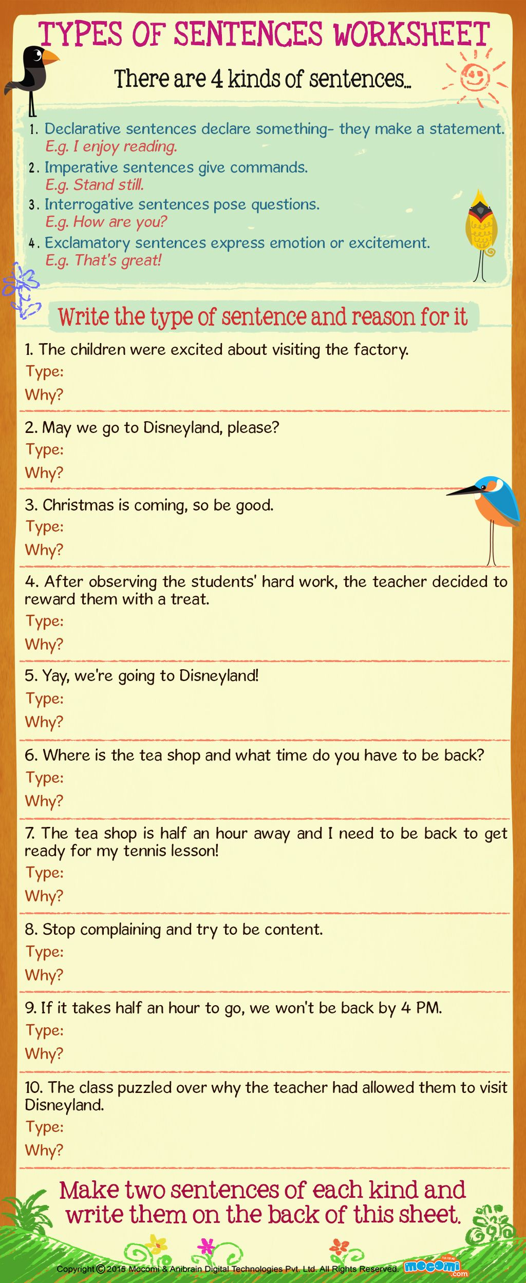 - Types Of Sentences Worksheet - English Worksheets For Kids Types