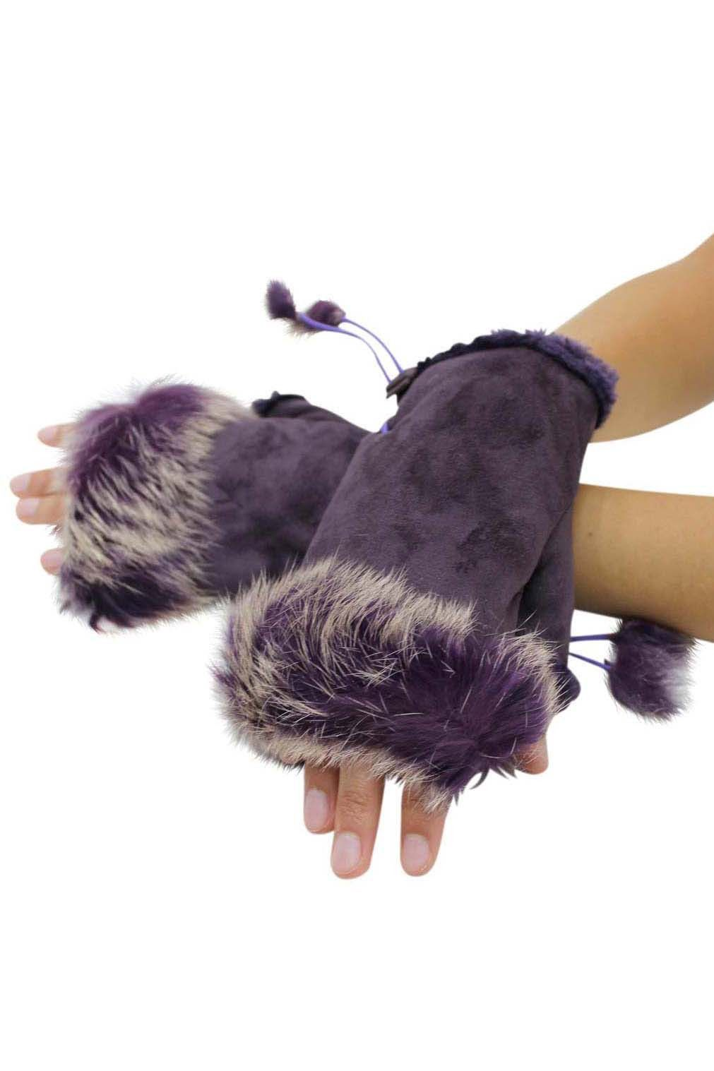 Fingerless Gloves With Rabbit Fur Trim